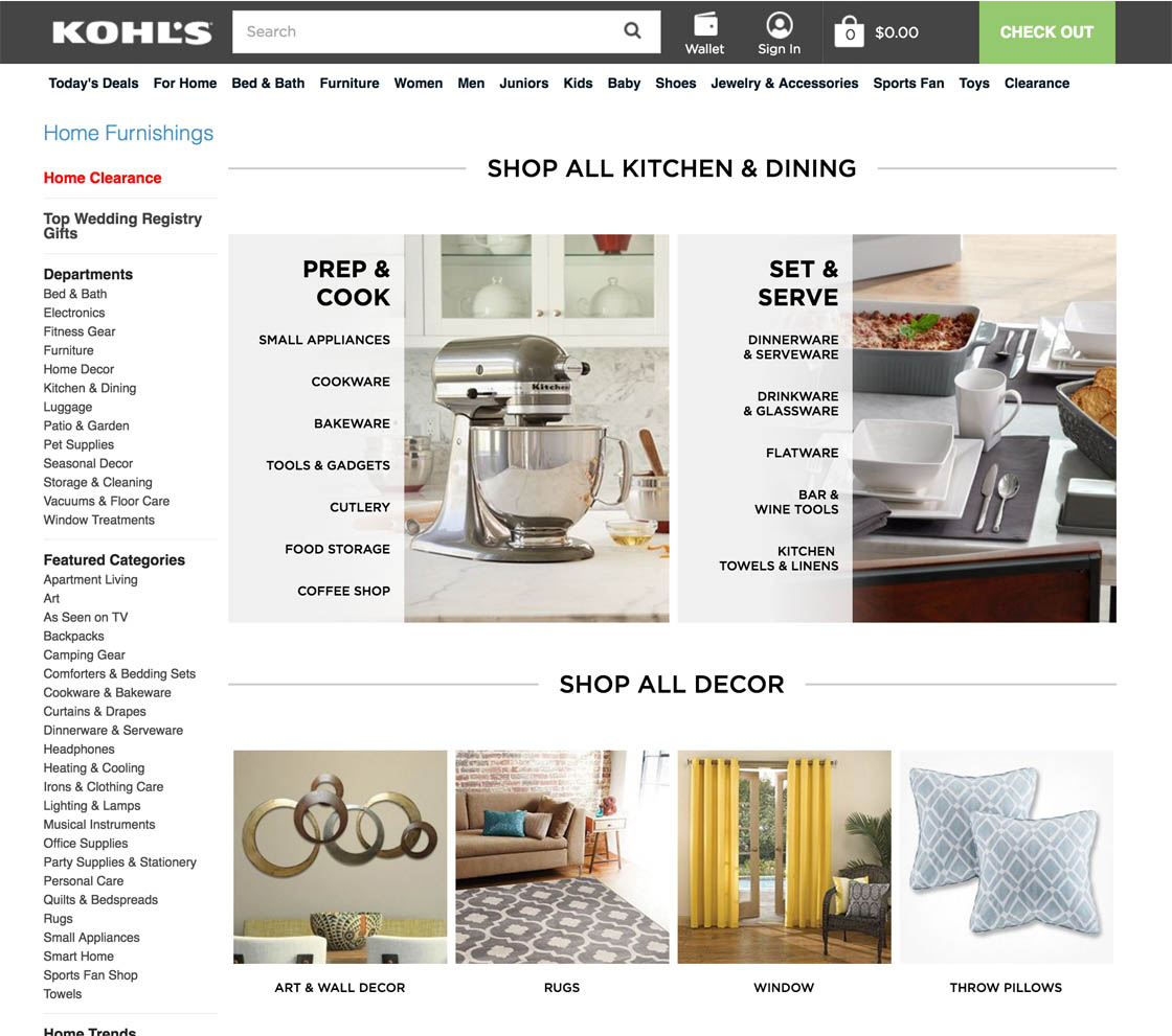 Category home decor page 7 - When Users Choose The Very Broadest Scopes At Kohl S E G For Home They Are Given An Intermediary Category Page That Guides Them Further Towards The
