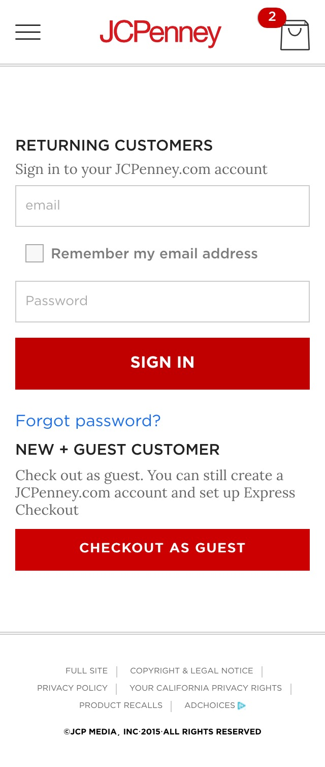 J C Penney 55 Mobile Checkout Account Selection