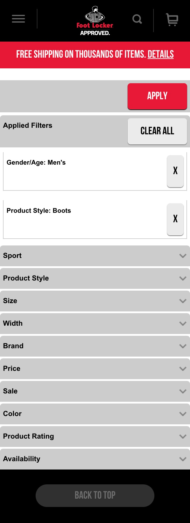 Foot lockers mobile e commerce usability score 169 usability page 5 of 13 filtering options falaconquin