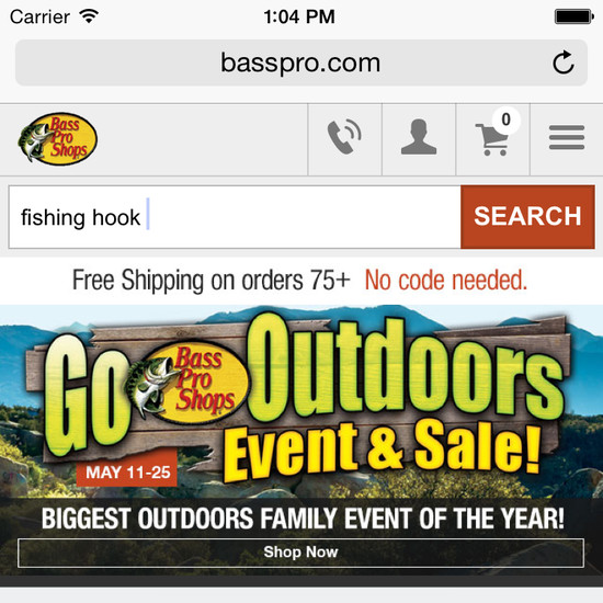 Bass Pro Shops - 37 Mobile 'Search Autocomplete' Examples - Baymard