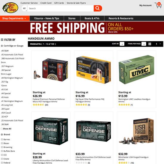 Bass Pro Shops - 110 'Product List: Category' Design