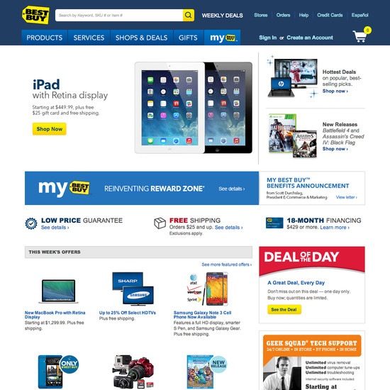 Best Buy'S Homepage & Categories, Usability Score: 869 - Baymard