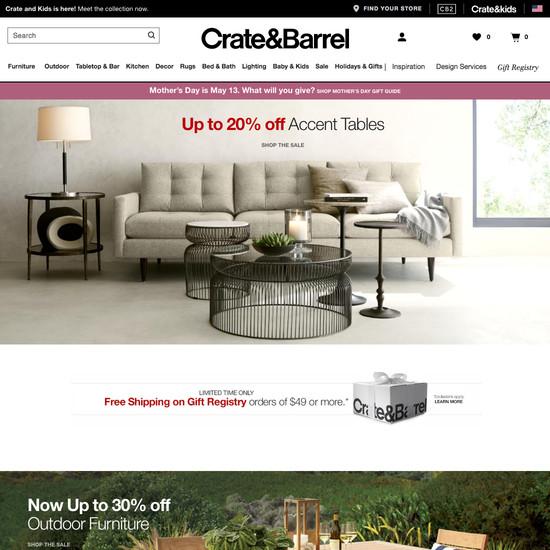 Crate Barrel S Desktop E Commerce Design