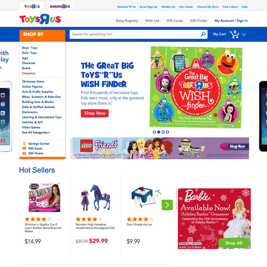 Toys'R'Us' Homepage & Categories, Usability Score: 985 - Baymard ...