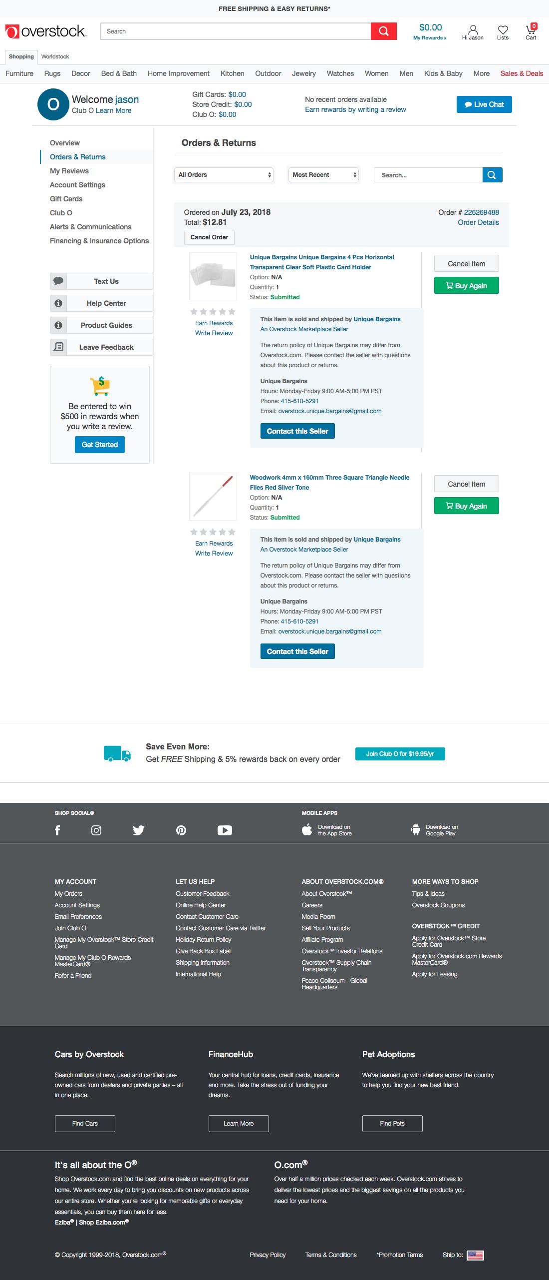 Overstock - 43 'Orders Overview' Design Examples - Baymard Institute