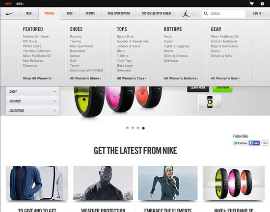 f70cd9ab0a433a Nike - 147  Drop-Down Menu  Design Examples - Baymard Institute