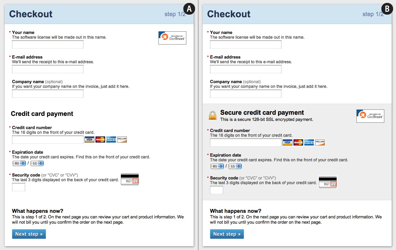 how users perceive security during the checkout flow incl new this mockup we created illustrates how a payment form emphasize its security through visual cues such as microcopy the use and position of site seals