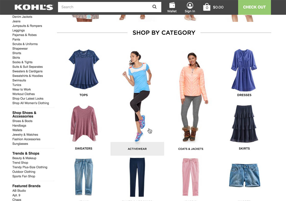 """2311d2309b24f At Kohl's important product type filters, such as """"Activewear"""", are  promoted alongside the categories at the Intermediary Category Page for  """"Womens"""" (left ..."""