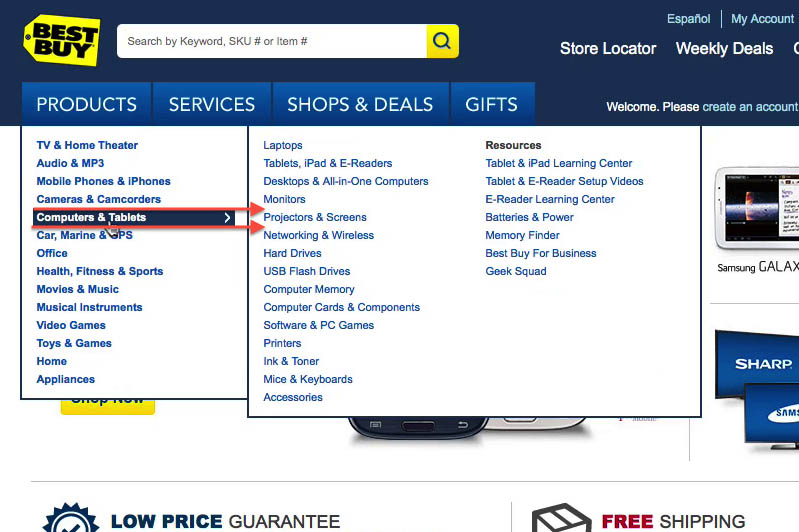 E-Commerce Usability: The Main Navigation Should Display Product
