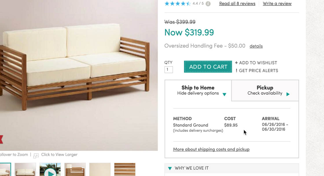 World Market Adds A Delivery Surcharge To Oversized Products, Making The  Shipping Costs For This Outdoor Bench $89.95 U2014 Corresponding To 28% Of The  Product ...