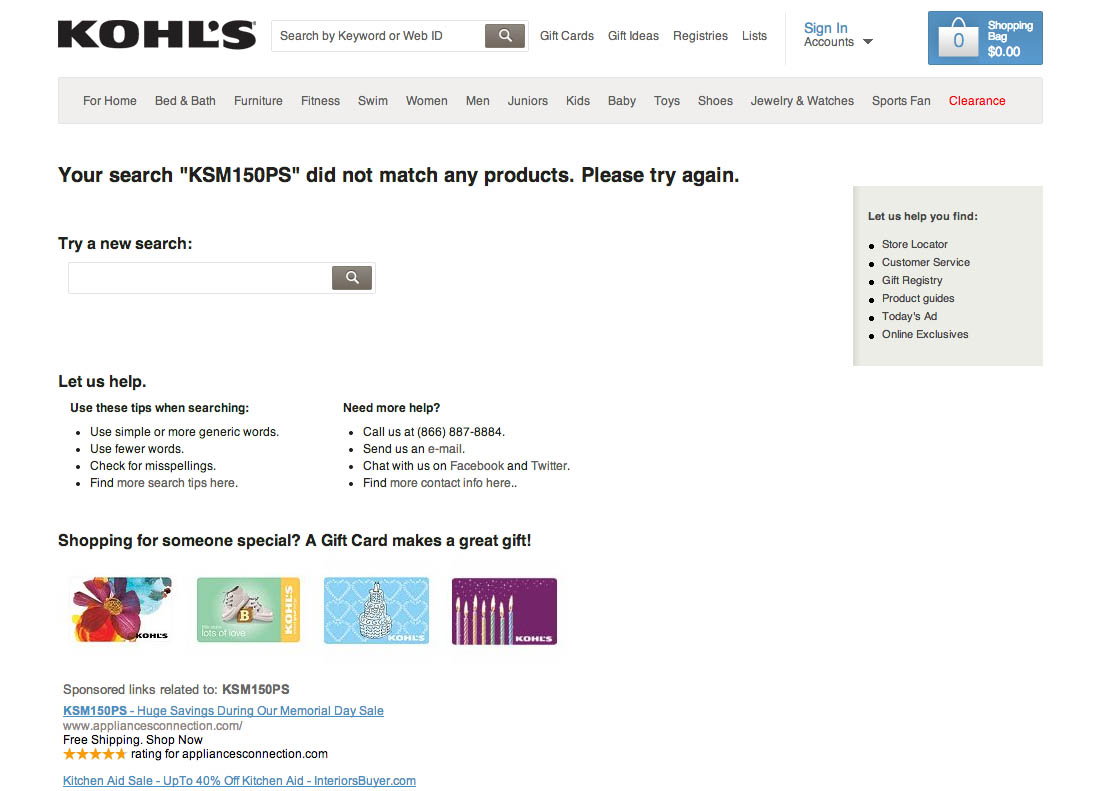 cef093ec When a user searches for a model name at Kohl's they won't find anything  (first image), even if that exact model number is available in the product  ...