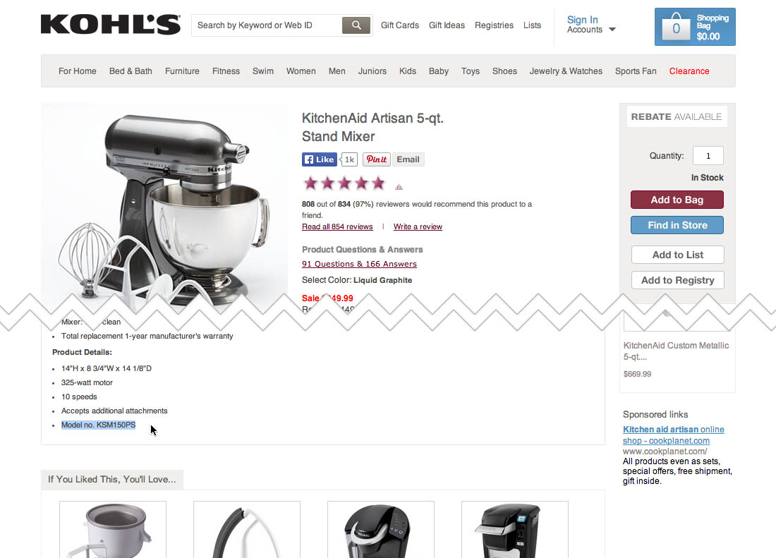 When a user searches for a model name at Kohl's they won't find anything  (first image), even if that exact model number is available in the product  ...