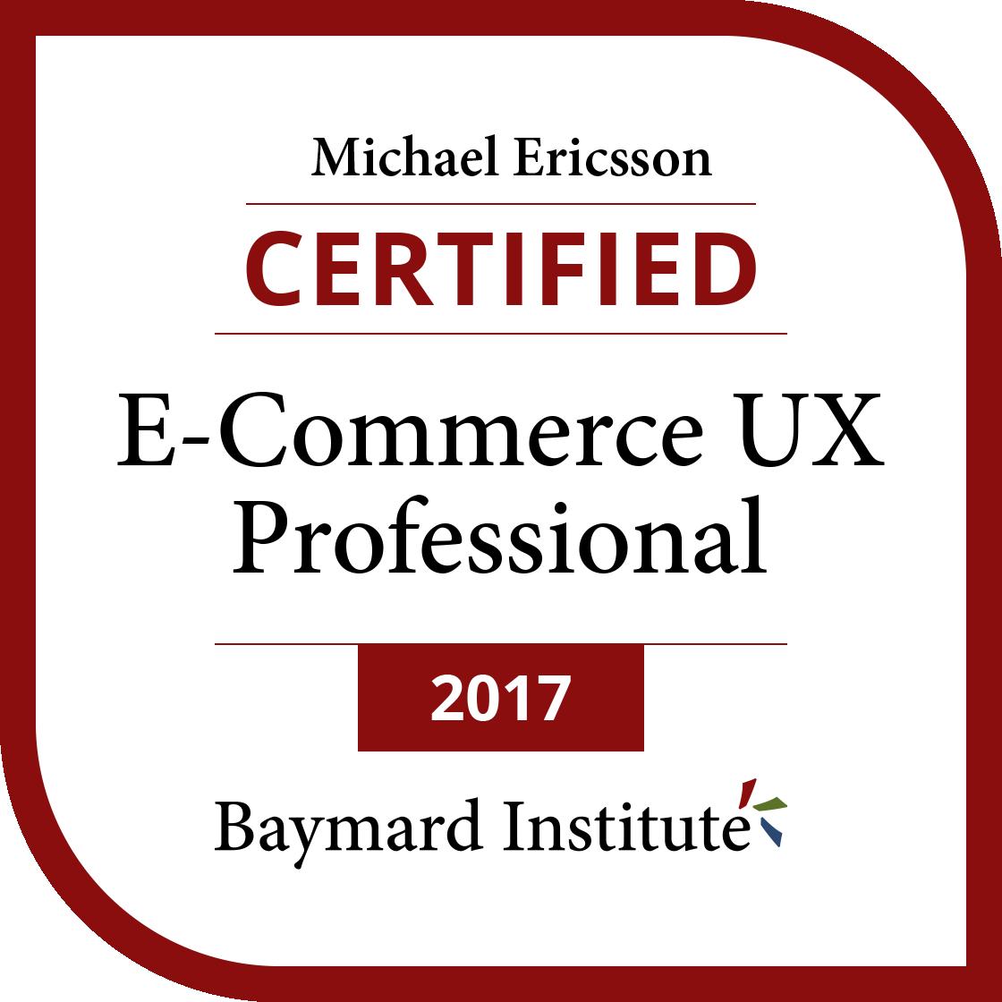 Michael Ericsson Certified E Commerce Ux Professional Exams